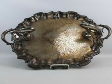 Vintage 1960s Huge Heavy Silver Plated Trophy Footed Tray Rare Fishing Tuna