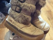 LADIES ART LEATHER/FUR UK3 WINTER WARM ZIP UP MID CHUNKY SOLE BOOTS