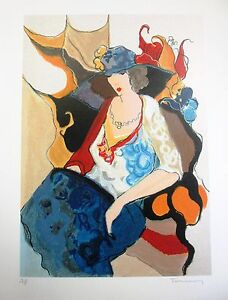 "Itzchak Tarkay""Five Graces"" Lady in pretty dress & hat Hand Signed/# Serigraph"
