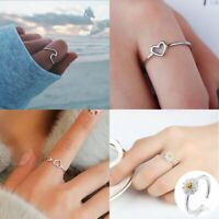 Women Girls Charm Silver Ring Finger Jewelry Wedding Engagement Jewellery Gift