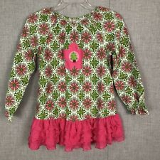 Mis Tee V Us Christmas Tunic Dress Boutique Pink Ruffles Green Tree Size 12