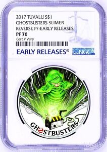 2017 Ghostbusters Slimer 1oz Silver $1 Coin NGC REVERSE PF70 EARLY Releases