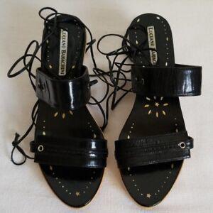 New Luciano Barachini Black Patent Lace Up Sandals Kitten Heel EU 35 US 5