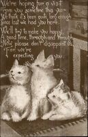 Cute Kitty Cats Kittens Hoping For a Visit - Poem c1910 Postcard