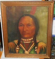 "ZITA BLUMENTHAL ""INDIAN CHEIF"" ORIGINAL OIL ON CANVAS PAINTING MELROSE CALIF"