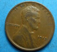1913-P Lincoln Wheat Cent    vg-f    nice coin   free shipping