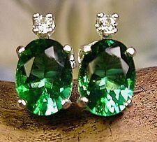 Mt St Helens Helenite 8x6 Earrings stud w acc Sterling silver .925 USA green