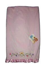 NWT Disney Baby Pink Plush Crib Blanket Flowers Tiara Crown Princess Ruffle Edge