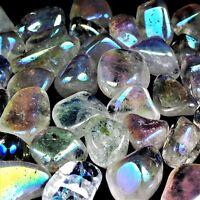 25 g Aqua Aura - Bergkristall Trommelsteine Ø 25 - 40 mm A - Qualität Angel Glow
