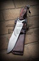 CUSTOM HANDMADE FORGED TOOL STEEL BIG HUNTING BOWIE KNIFE WITH LEATHER SHEATH