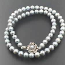 """GREY FRESHWATER PEARL 7 mm WITH SILVER FLOWER CLASP 17.25"""" BEADED NECKLACE &2"""