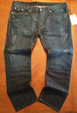NWT $282 True Religion Mens Hand Picked Skinny W Flaps Blue Jeans ....Size 42x33