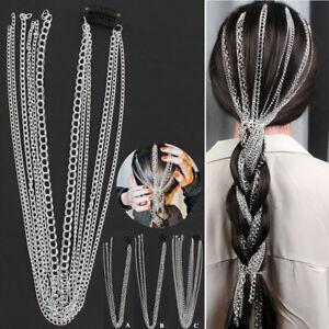 Wig Extension Chain Silver Hair Multi strand Long Tassel Chain Bridal Headwear H