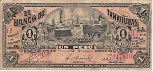 VERY NICE BANKNOTE FROM MEXICO BANK OF TAMAULIPAS YEAR 1914