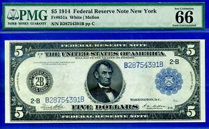Near TOP POP - 1914 $5 FRN (( 3rd Finest - New York )) PMG 66EPQ # B28754391B-