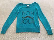 So Bon Jour TEAL Blue Size M Cotton Blend Mustache Sweater CUTE@
