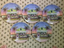New listing Set Of 5 Tropical Plates 100% Melamine Signed Reiber