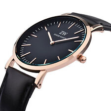 Mens Luxury Ultra Thin Black Leather Strap Sports Analog Wrist Watch Fashion UK