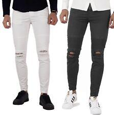 Pantaloni uomo COTONE slim fit jeans bikers PRIMAVERILI bianco nero verde blu