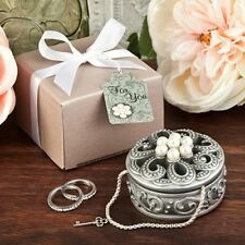 70 Pewter Flower Pearl Jewelry Box Wedding, Shower Party Gift Favors