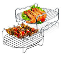 Stainless Steel Barbecue Tray Air Fryer Accessory Double-layers Cooking Rack