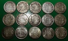 1937-1966 LOT of 15 Canada SILVER 50 CENTS Coins - 15 Canadian Halves