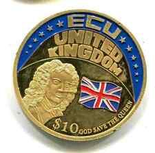 Liberia 10 Dollar ECU Gross Britanien  40 mm vergoldet 1 Stück (S244)