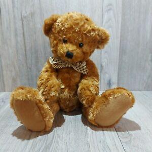 Russ Tyler Light Brown Plush Beanie Bear by Artist Rikey Austin w/Checkered Bow