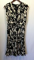 Jones New York Black White Floral A Line Sleeveless Deep V Neck Dress Size 8