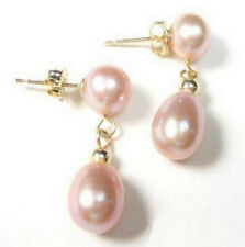 Excellent Genuine Pink Pearl  Drop 18KGP Dangle Stud Earrings