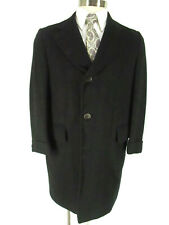 Vintage Rothschilds Men Black Single Breasted 100% Cashmere Overcoat 38S