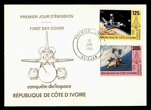 DR WHO 1981 IVORY COAST FDC SPACE SHUTTLE CACHET COMBO  g00214