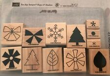 Stampin Up Shapes & Shadows Set Of 12 Wood Mounted Rubber Stamp Su Scrapbooking