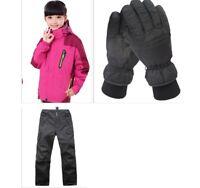 D56 Kids Red Ski Snowboard Winter Waterproof Jacket Pants Gloves S M L XL XXL