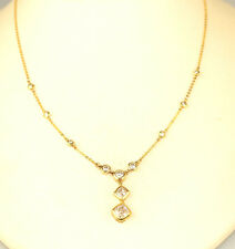 GOLD VERMEIL STERLING SILVER CZ STATION & PENDANT NECKLACE 17.75 INCHES LONG