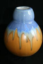 Vase en grès  Beige et Bleu non signé