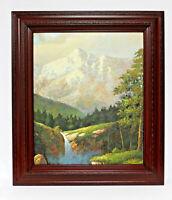 Waterfall Mountain Landscape 20 x 24 Art Oil Painting on Canvas w/Custom Frame