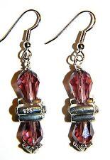 """w/.925 Silver Flower Earrings #13452 """"Gertrude"""" Maroon Crystal Teardrops"""