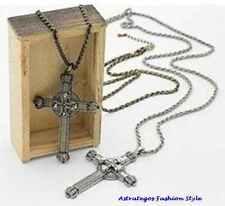 Halskette mit großem Kreuzanhänger antik bronce plattiert, goldfarben