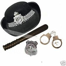 Womens Instant Police Woman Cop WPC Hat Badge Tie Handcuffs Fancy Dress Costume