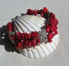 "Natural Red Coral Gemstone Bracelet ""Symphony in Red"""