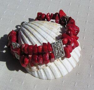 "Natural Red Coral Gemstone Bracelet ""Symphony in Red"""