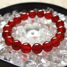 10mm Women Stone Natural Red Agate Gemstone Round Beads Stretch Bracelet J67
