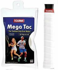 10 Tourna Mega Tac Grips/Overgrips - White - Free P&P