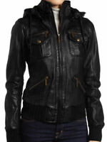 LSM Women's Black Lambskin Detachable Hooded Leather Bomber Jacket Style New