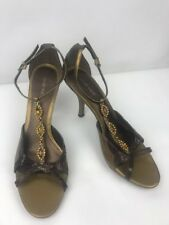 NINE WEST stunning grey metallic jewelled strappy sandals US 9W UK 7
