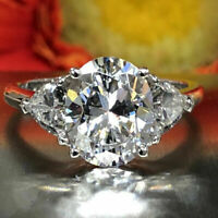 3.50 ct Oval Cut Diamond Ring 925 Sterling Silver Engagement Ring VVS1/D !!!!