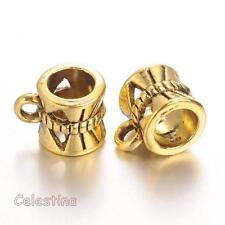 20 x Antique Gold - Charm Holders/Hangers - Silver Bails - Slider - LF CF