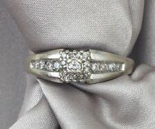 14k White Gold Diamond Cluster Wedding Engagement Ring Size 6.75