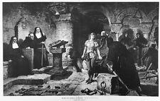 Verhör, Folter, Constanze de Beverley vor Gericht, Original-Holzstich von 1884